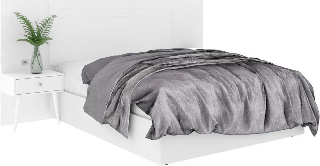 Cabeceira Box de Casal Extensível 100% MDF Toscana 1,40X1,60 Branco Madeirado Robel Móveis
