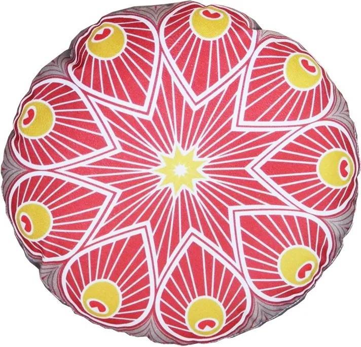 Almofada Redonda Indiana Vermelha Com Cinza