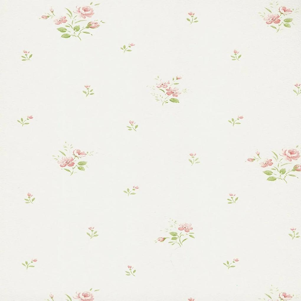 Papel de Parede Floral Rosa e Branco 52cm x 10m Figuras