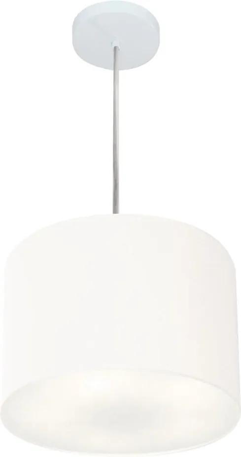 Lustre Pendente Cilíndrico Md-4210 Cúpula Tecido 30x25cm Branco