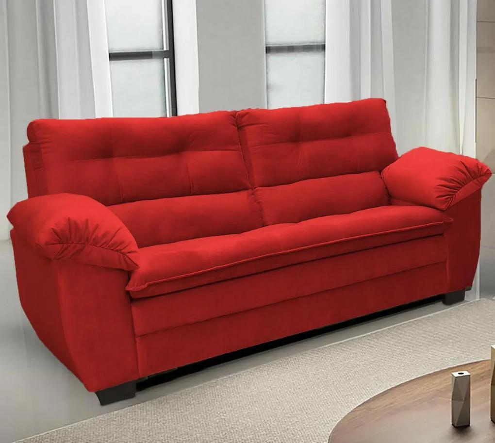 Sofá Macio com Fibra Premium 2,20mts 3 Lugares Tecido Suede Vermelho