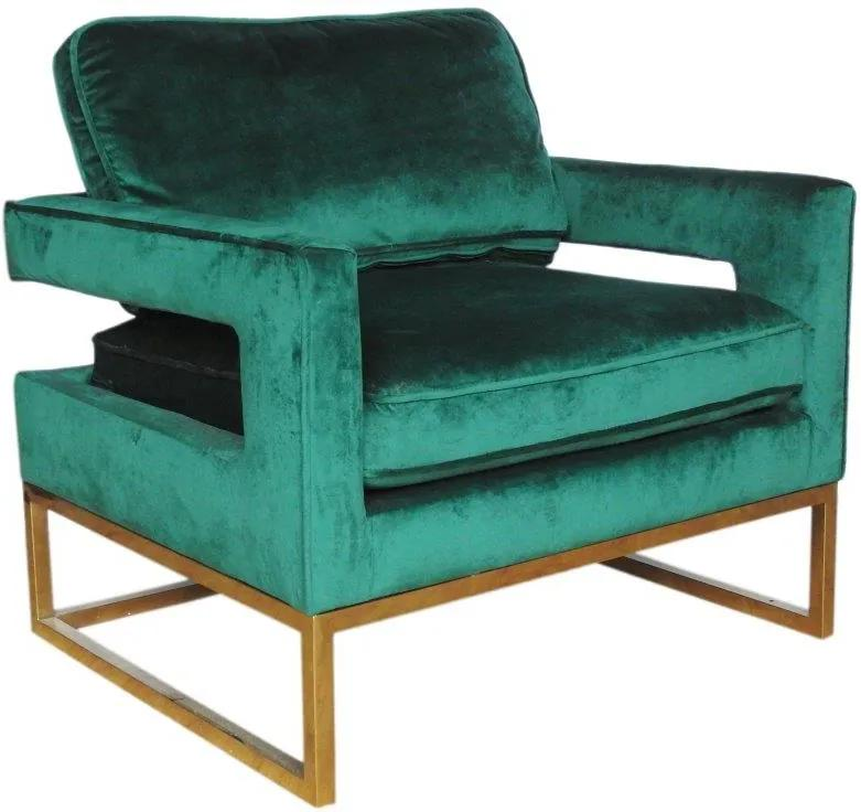 Poltrona em Aço Dourado com Estofado em Veludo Verde - 60x83x73cm
