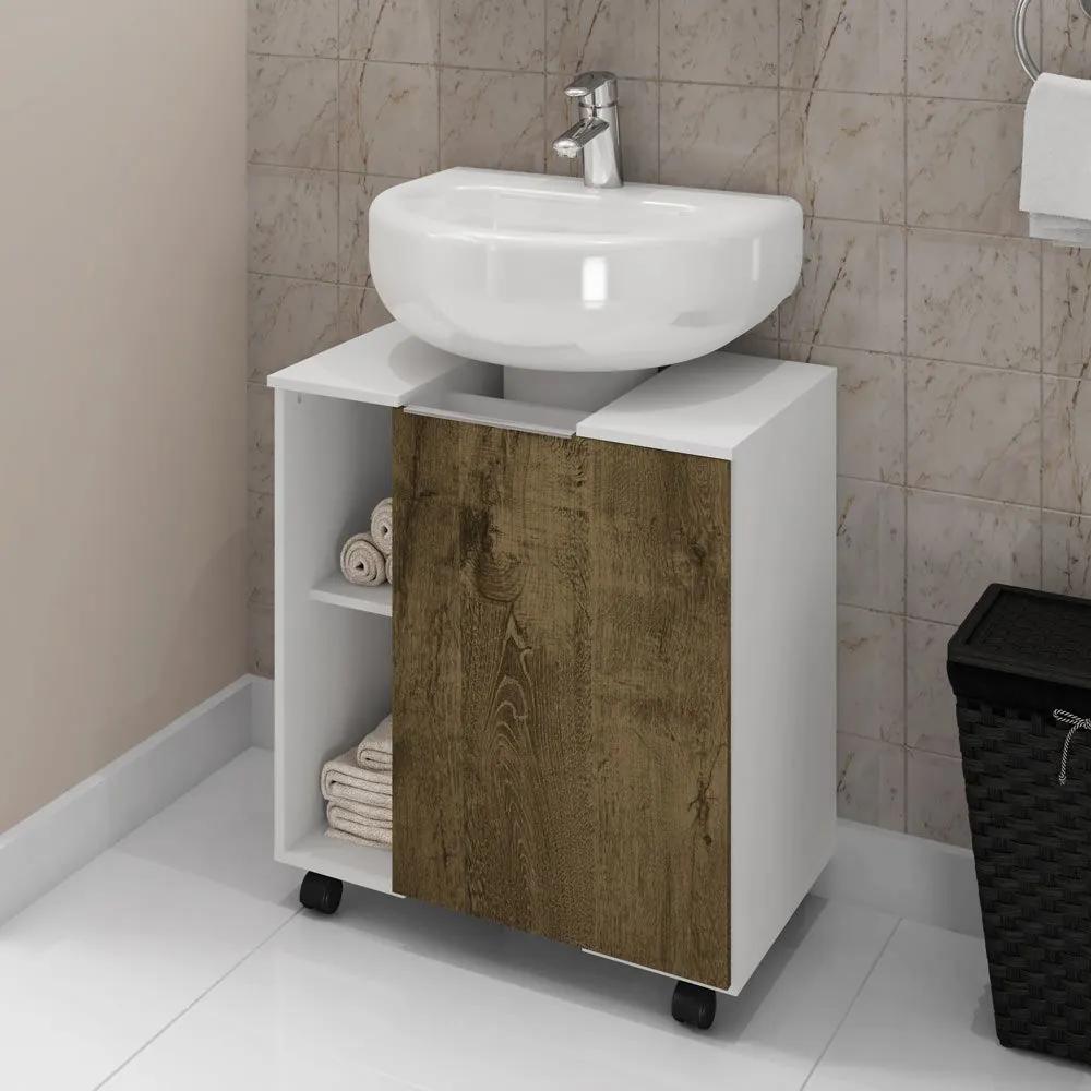 Armário de Banheiro Pequin Brando/Madeira Rústica - Bechara Móveis