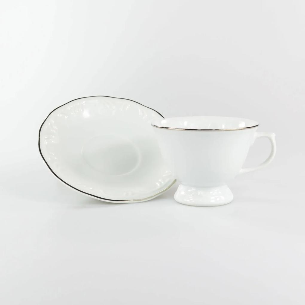Xícara Chá com Pires 200 ml Porcelana Schmidt - Dec. Filetado Prata Pomerode