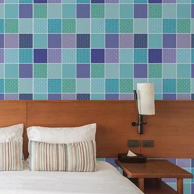 Papel De Parede Autocolante Azulejo Azul E Roxo 316523069