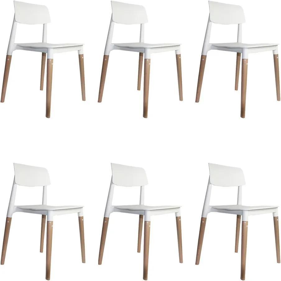 kit 6 Cadeiras Decorativas Sala e Cozinha (PP) Viper Branca - Gran Belo