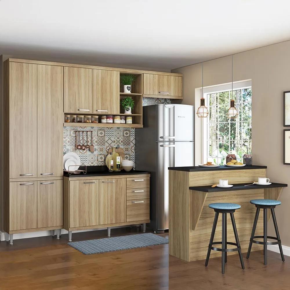 Cozinha Compacta 11 Portas Com Tampo e Bancada 5846 Argila - Multimóveis