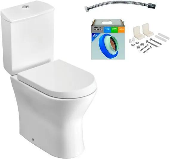 Kit Bacia com Caixa Acoplada e Assento Nexo Branco + Conjunto de Fixação Flexível e Anel de Vedação - Roca - Roca