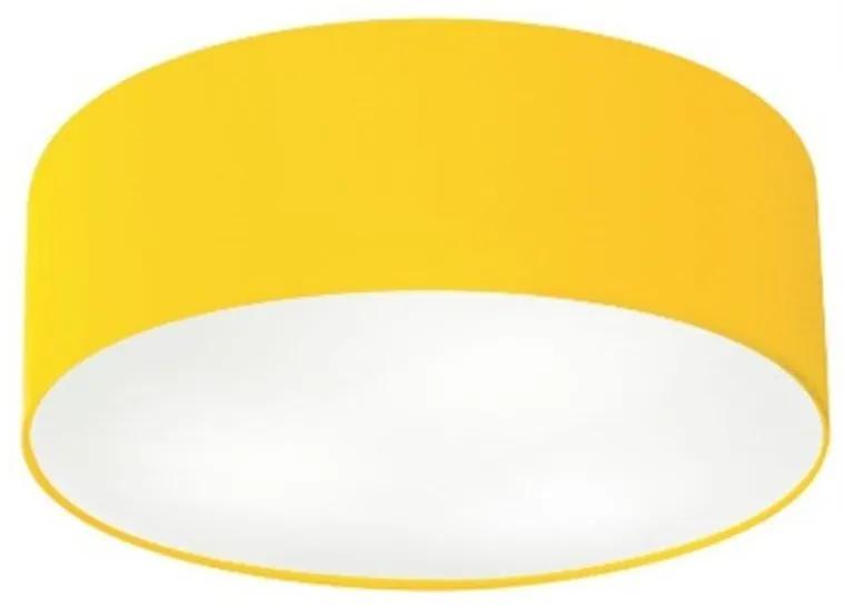 Plafon Cilíndrico Vivare Md-3014 Cúpula em Tecido 50x15cm - Bivolt - Amarelo - 110V/220V (Bivolt)