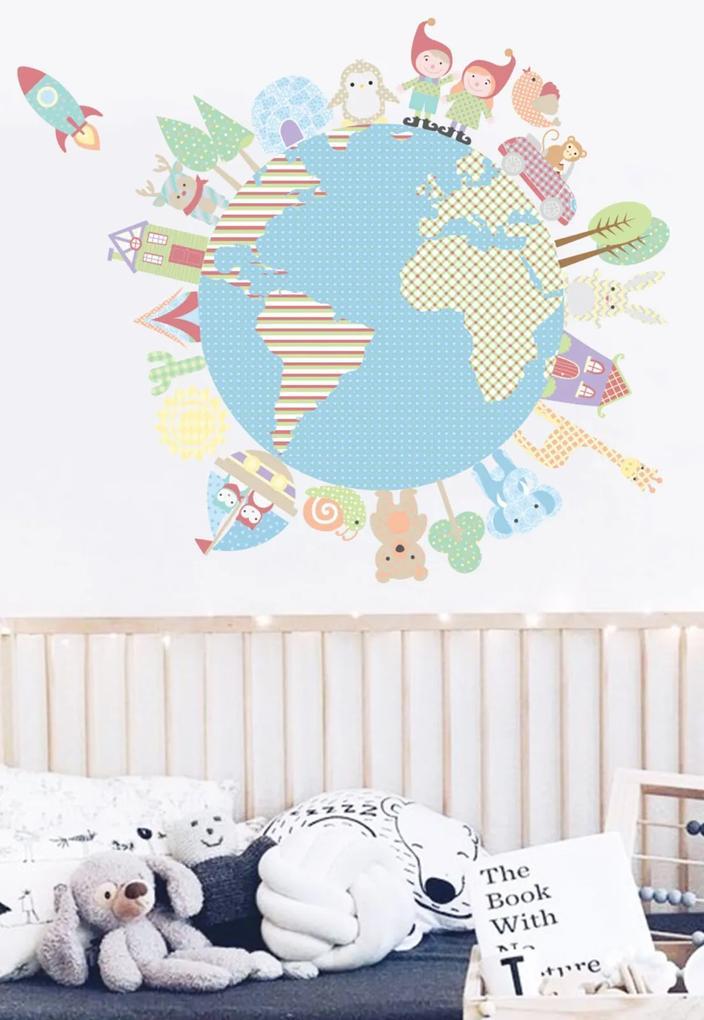 Adesivo Decorativo Stixx Volta Ao Mundo Azul