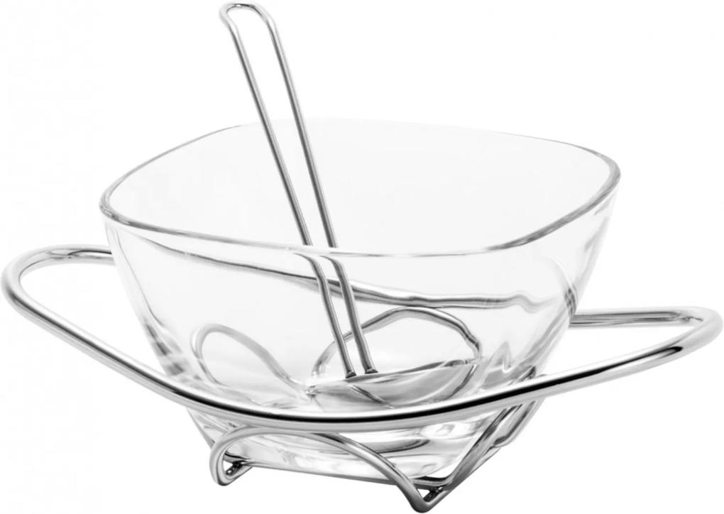 Molheira de vidro Rojemac com suporte e concha de aço inox Fenice Incolor