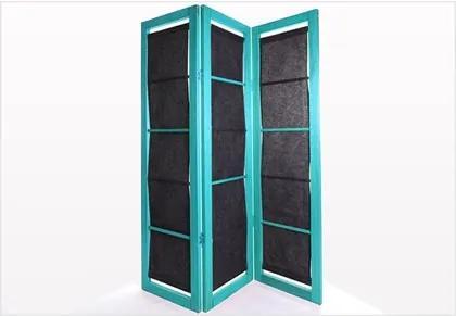 Biombo com Tecido 11078.91 Dominoes Stain Azul - Mão & Formão