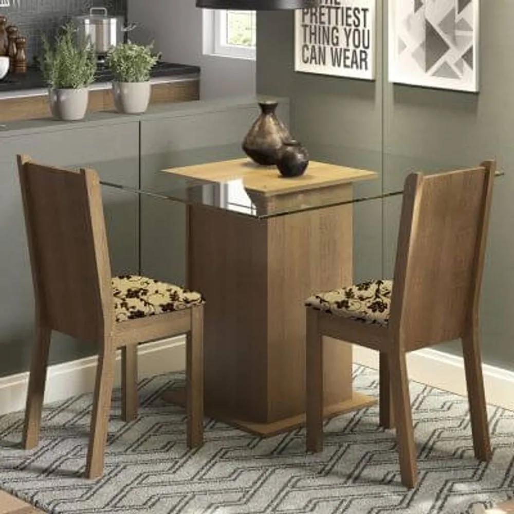 Conjunto Sala de Jantar Madesa Clei Mesa Tampo de Vidro com 2 Cadeiras Rustic/Bege Marrom Cor:Rustic/Bege Marrom