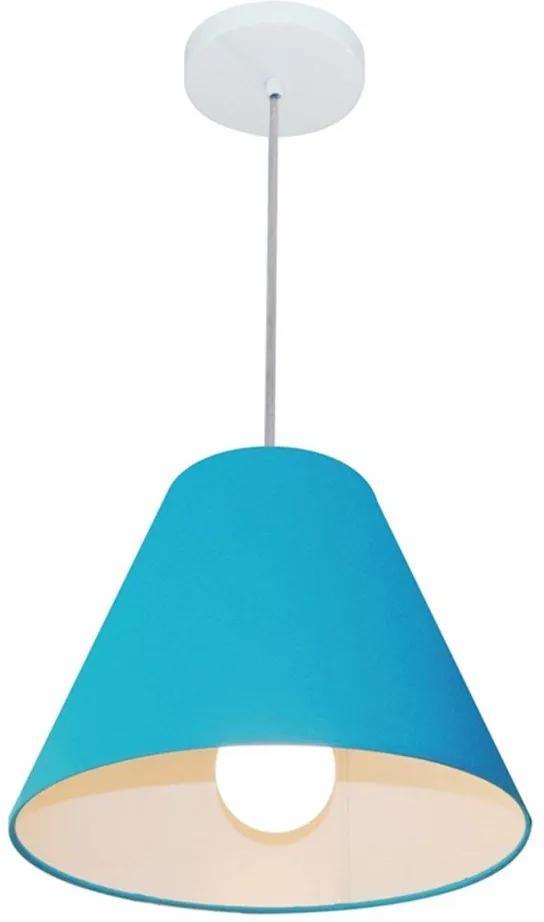 Lustre Pendente Cone Md-4028 Cúpula em Tecido 25/30x12cm Azul Turquesa - Bivolt