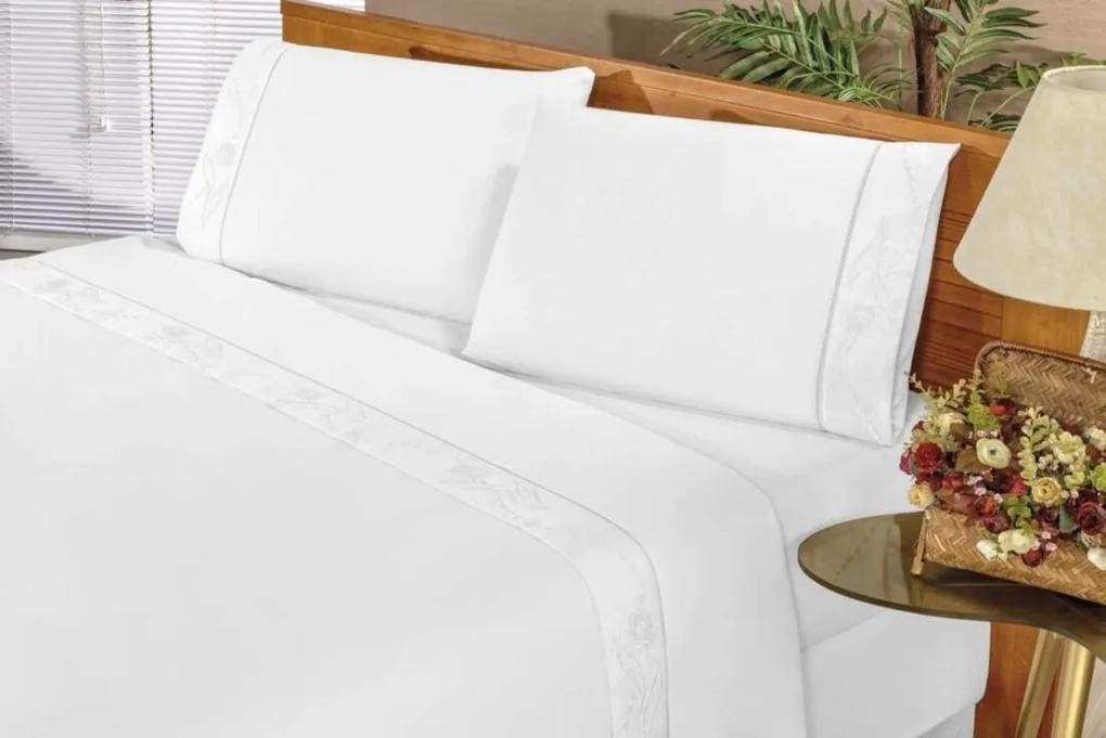 Jogo de Cama Imperial Solteiro 03 Peças - Branco Bia Enxovais