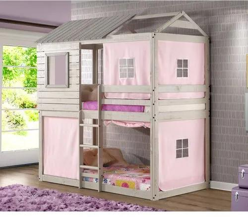 Beliche Infantil Club House com Tenda Rosa - Madeira Maciça - Casatema