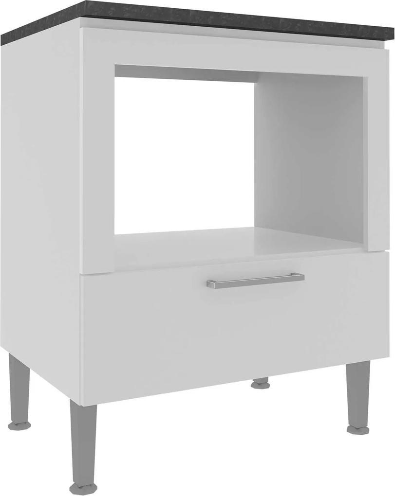 Balcão 700 1Gav/Forno Branco Granito Preto Genialflex Móveis