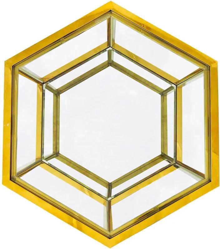 Mesa Auxiliar Hexagonal Dourada com Tampo de Vidro - 60x40x52cm