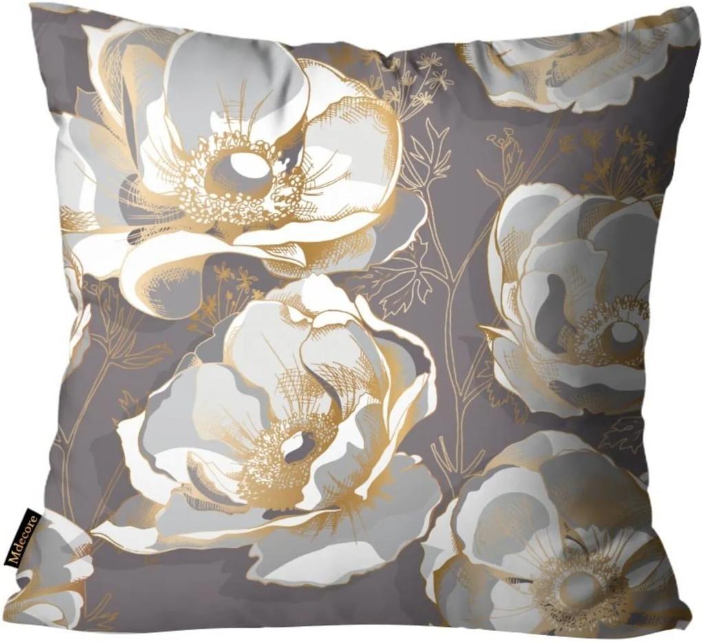 Almofada Premium Cetim Mdecore Floral Marrom 45x45cm