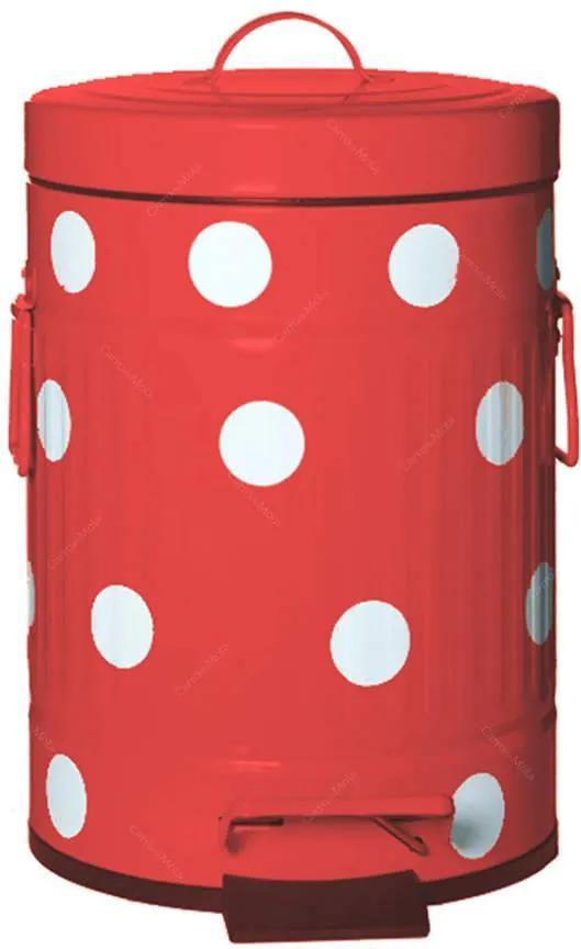 Lixeira Cute Dots Poás Vermelha com Pedal em Metal - 5 Litros