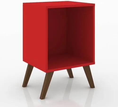 Mesa de Canto com Nicho e Pés Retrô - Vermelho