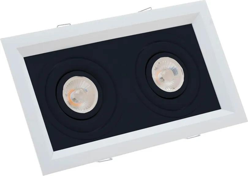 Plafon Embutir Aluminio Branco Preto 24,1cm Recuado Ii
