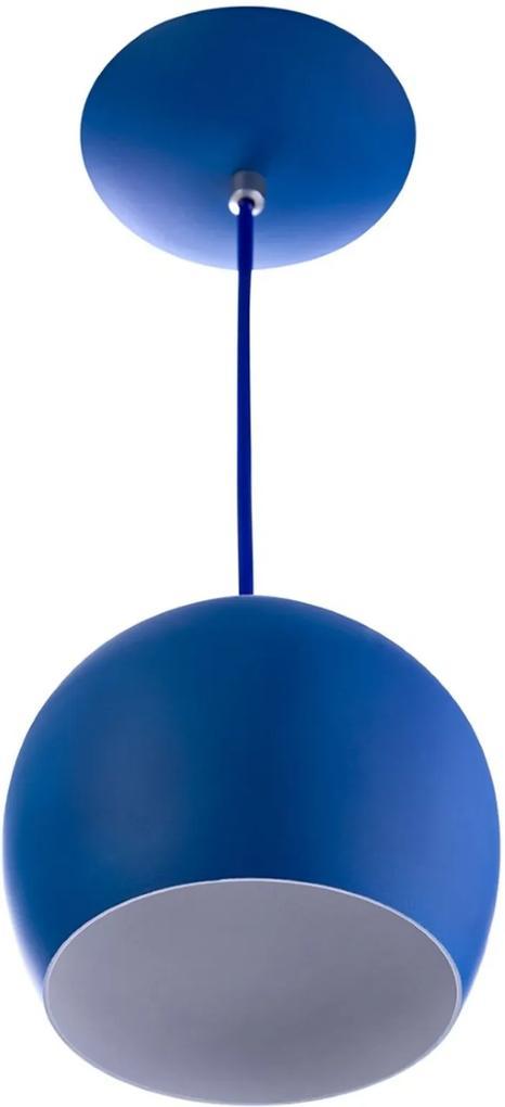 Lustre Pendente Bola Média De Alumínio 23cm Azul