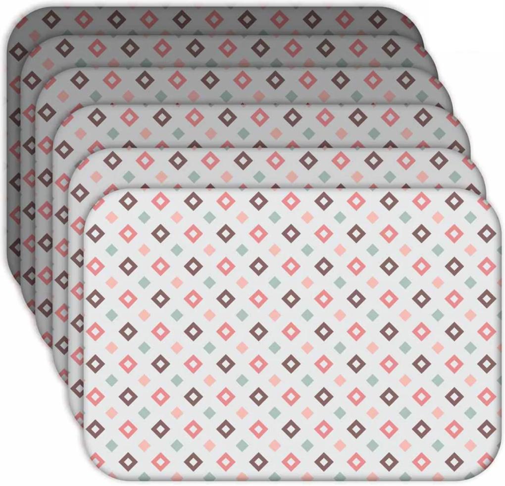 Jogo Americano Love Decor  Quadrados Kit Com 6 Peças