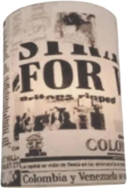 Arandela Meia Cana Retro Md-2003 Cúpula em Tecido 25/18x10cm Ny-Jornal - Bivolt