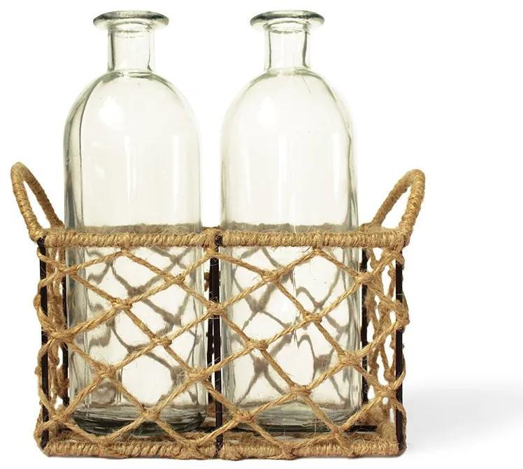Kit cesto de corda com garrafas de vidro