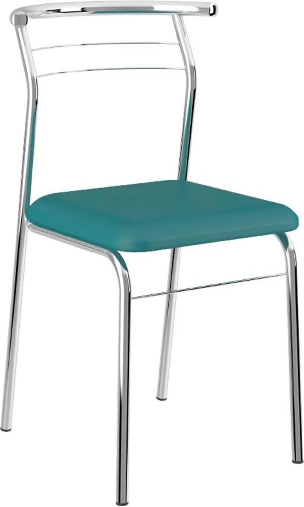 Cadeira Tubo Cromado Napa Turquesa Carraro
