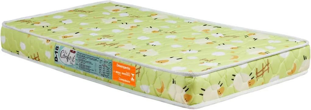 Colchão Para Berço Pro Confort Baby D18 Verde Bordado 70X130X10 Hellen