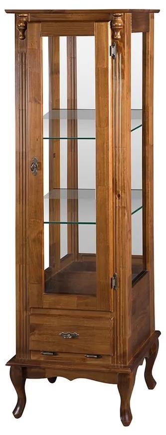 Vitrine 1 Porta com espelho e Prateleira de vidro Pés Luis XV- Wood Prime MY 11482