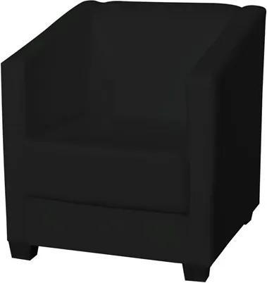 Poltrona Decorativa Valéria com Pés em PVC Corino Preto - JS Móveis
