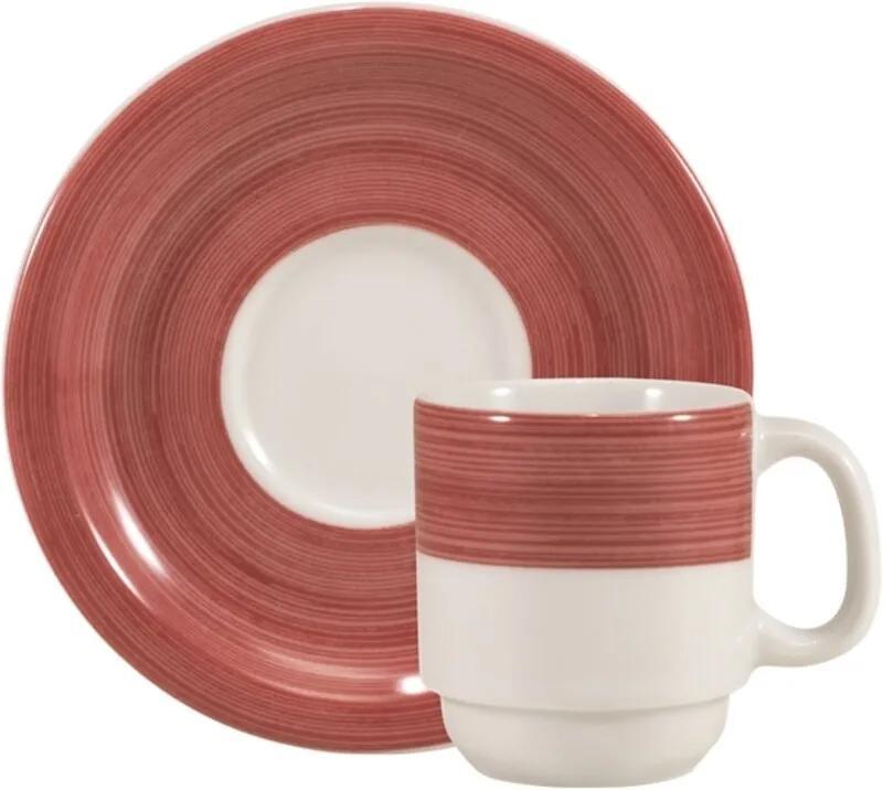 Xícara para Café com Pires 80 ml Porcelana Schmidt - Dec. Cilídrica Pintura à Mão Vermelho