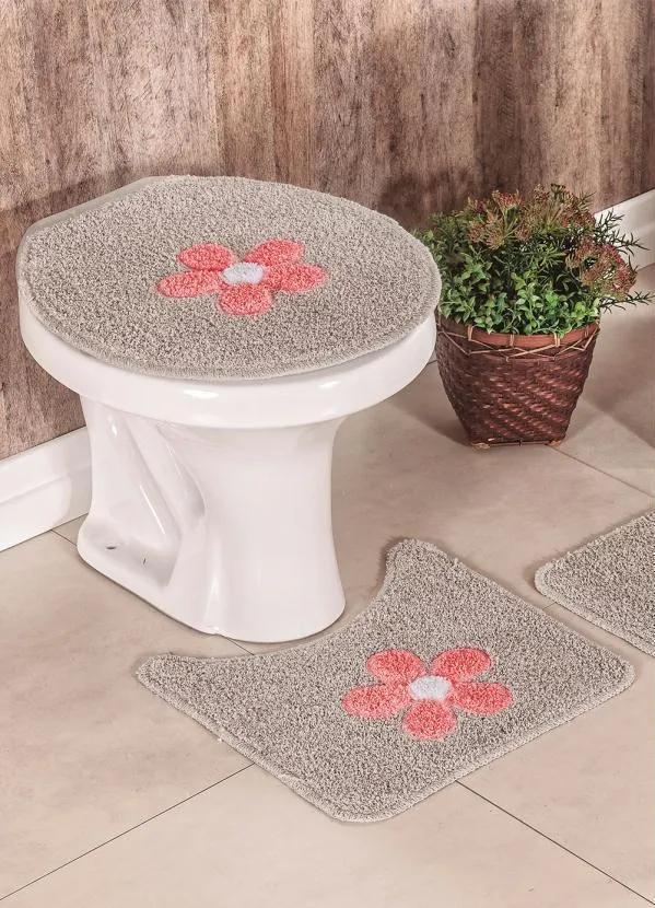 Jogo de Banheiro Flores Cáqui 3 Peças