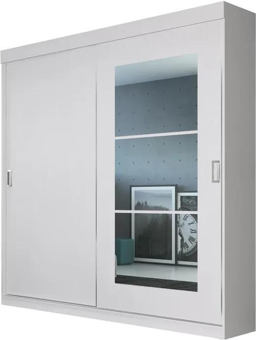 Guarda-Roupa Solteiro 2 Portas de Correr com espelho Édez PH1693 Herval, Touch Branco