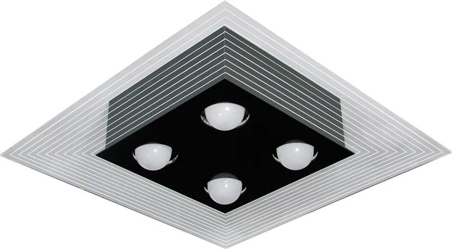 Plafon Sobrepor Alumínio Preto