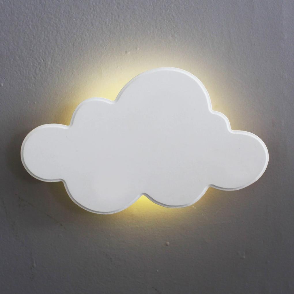 Nuvem Luminária MDF Branca Média com LED com Luz Quente