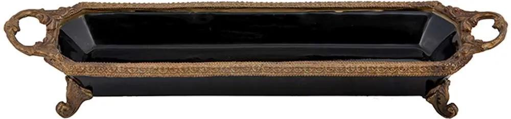 Bandeja Decorativa de Porcelana e Bronze G - Linha Black