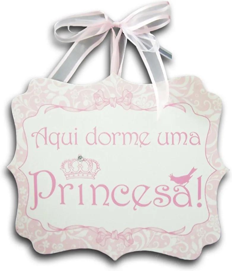 Plaquinha Móbile Aqui Dorme uma Princesa Quadrado - 24x20 cm