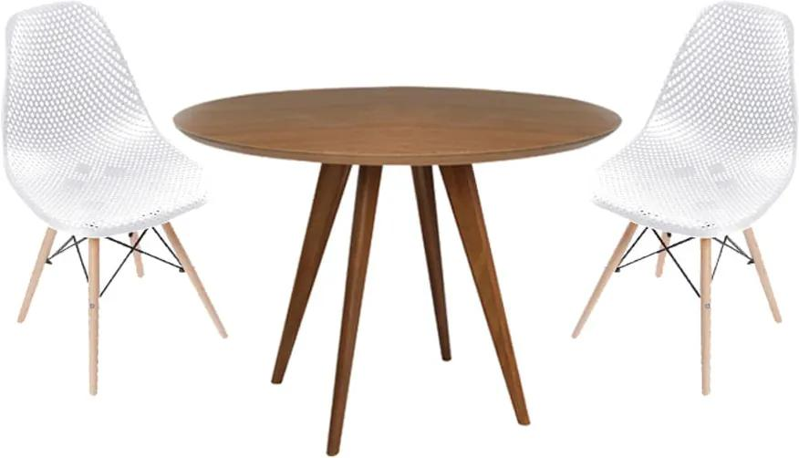 Conjunto Mesa Square Redonda Louro Freijó 80cm + 2 Cadeiras Eiffel Vazada Branca