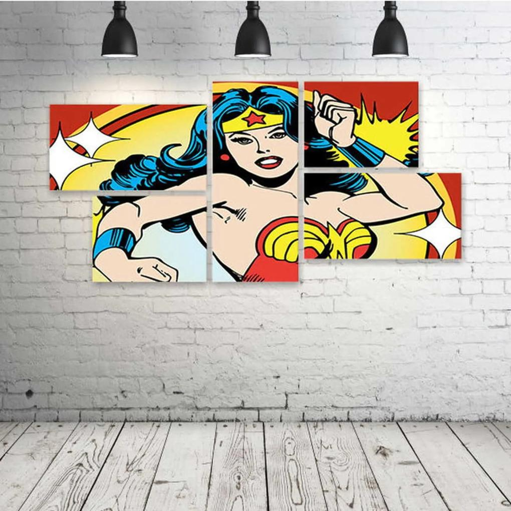 Quadro Decorativo - Wonder-Woman-Vintage-(2) - Composto de 5 Quadros