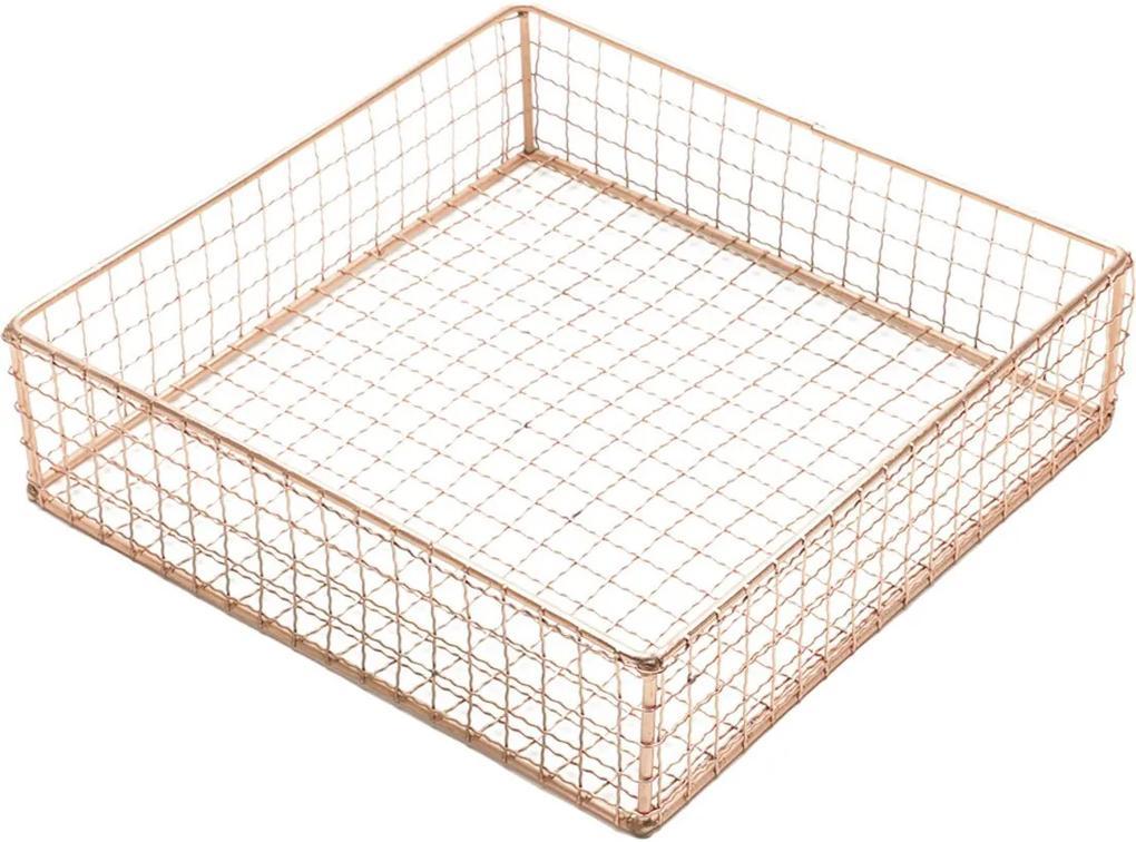 Cesta Metal Square Wire Cobre 25X25X6,5 Cm Urban