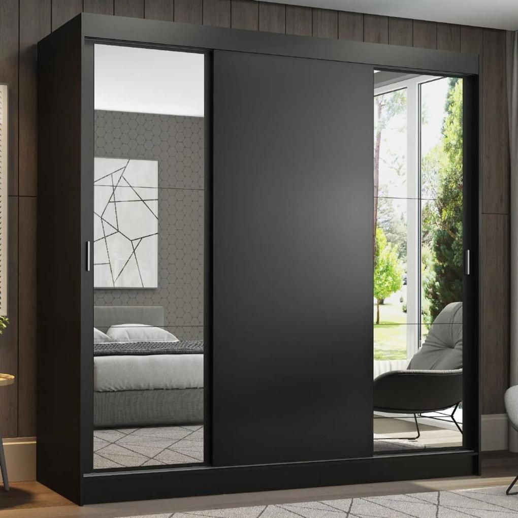 Guarda-Roupa Casal Madesa Reno 3 Portas de Correr com Espelhos Preto