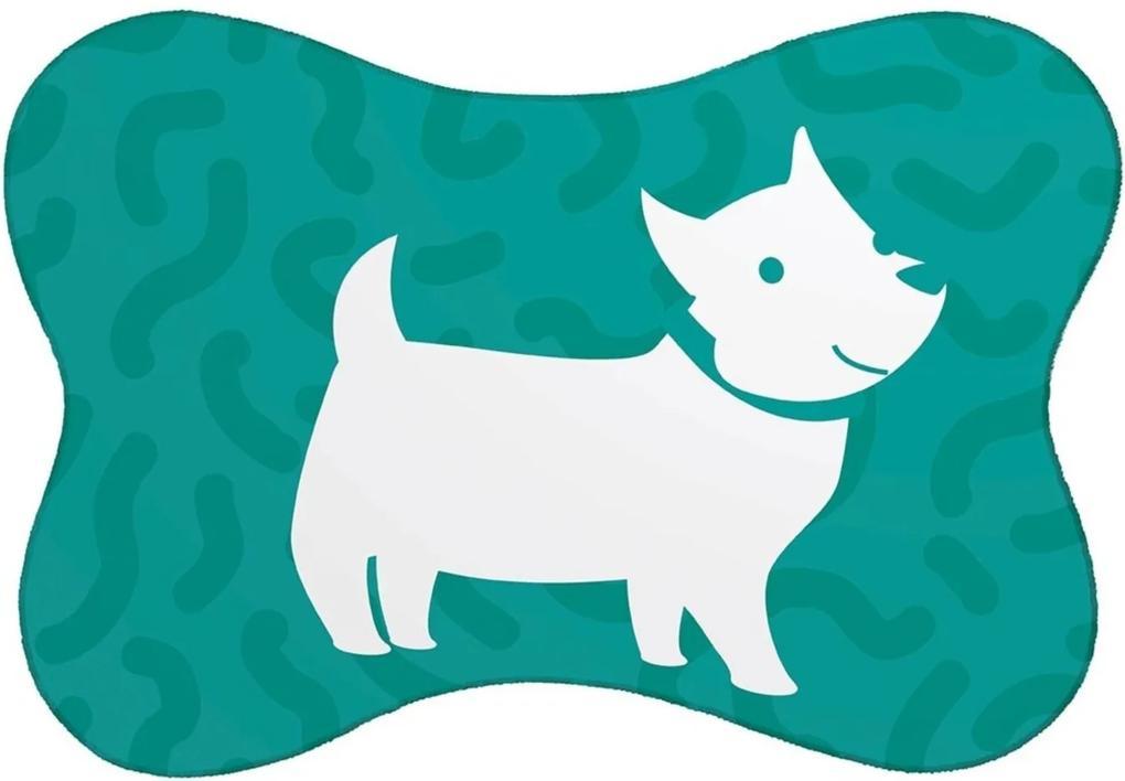 Tapete Mdecore PET Mdecore Cachorro Verde 46x33cm