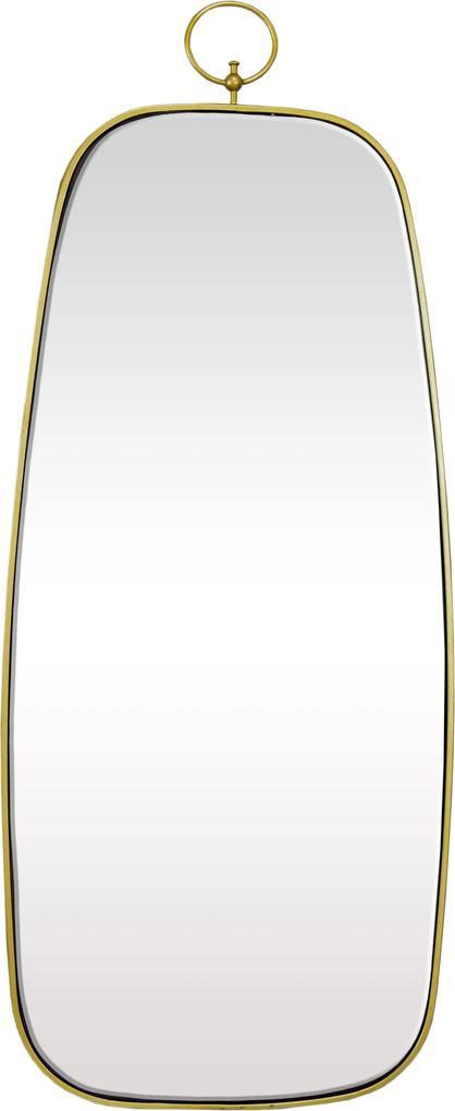 Espelho Retangular com Moldura em Metal Dourado - 67X28cm