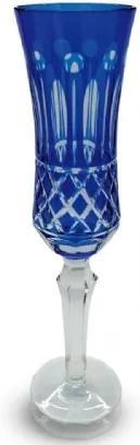 Conjunto de Taças Champagne Lapidado 6 peças Azul Escuro