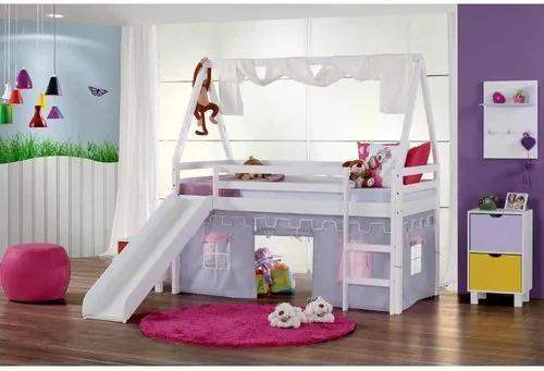 Cama Infantil com Escorregador, Telhado VI, Xale e Tenda Castelo Lilás - Laca Branco Casatema