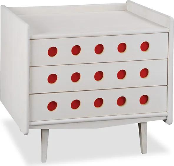 Cômoda Vintage Branca com Vermelha